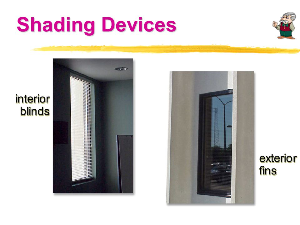Shading Devices interiorblindsinteriorblinds exteriorfinsexteriorfins
