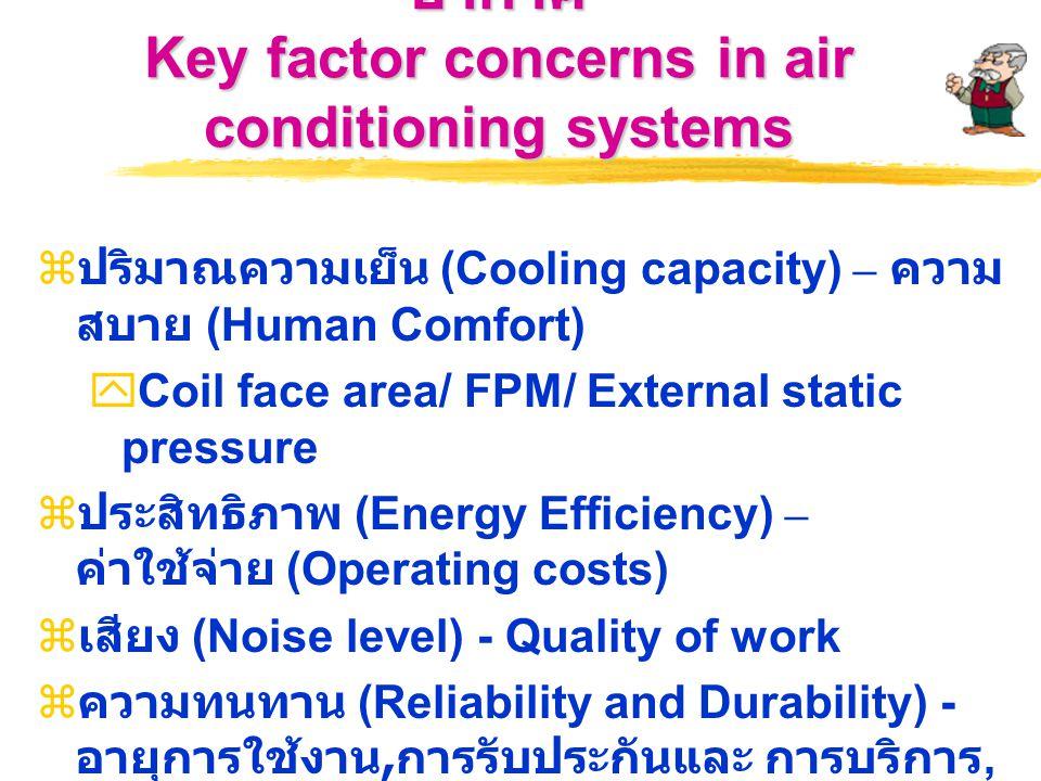 ปัจจัยสำคัญในการพิจารณาระบบปรับ อากาศ Key factor concerns in air conditioning systems  ปริมาณความเย็น (Cooling capacity) – ความ สบาย (Human Comfort)  Coil face area/ FPM/ External static pressure  ประสิทธิภาพ (Energy Efficiency) – ค่าใช้จ่าย (Operating costs)  เสียง (Noise level) - Quality of work  ความทนทาน (Reliability and Durability) - อายุการใช้งาน, การรับประกันและ การบริการ, ISO และมาตรฐานรับรอง  คุณภาพอากาศ (IAQ - Indoor air quality) - Health conscious