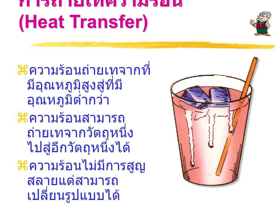 การถ่ายเทความร้อน (Heat Transfer)  ความร้อนถ่ายเทจากที่ มีอุณหภูมิสูงสู่ที่มี อุณหภูมิต่ำกว่า  ความร้อนสามารถ ถ่ายเทจากวัตถุหนึ่ง ไปสู่อีกวัตถุหนึ่งได้  ความร้อนไม่มีการสูญ สลายแต่สามารถ เปลี่ยนรูปแบบได้