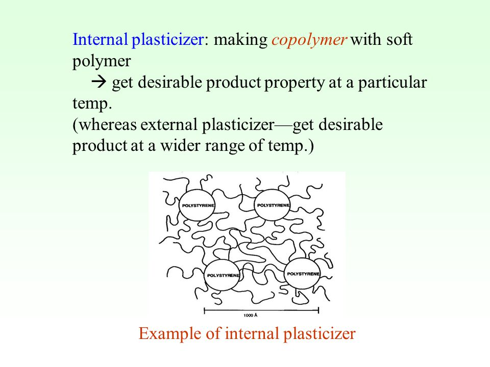Internal plasticizer: making copolymer with soft polymer  get desirable product property at a particular temp. (whereas external plasticizer—get desi