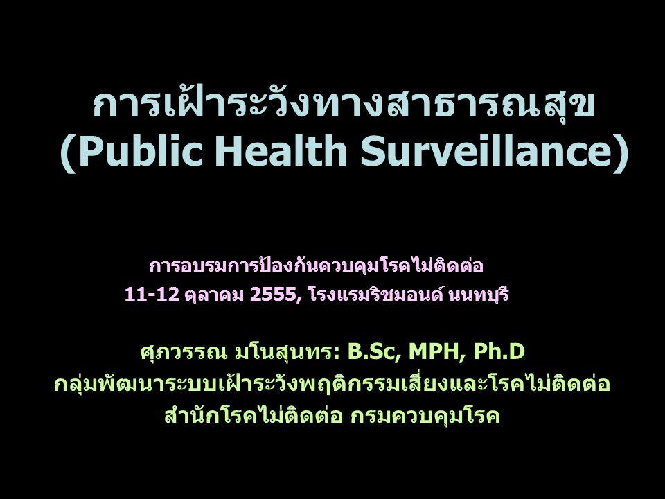 การเฝ้าระวังทางสาธารณสุข (Public Health Surveillance) ศุภวรรณ มโนสุนทร: B.Sc, MPH, Ph.D กลุ่มพัฒนาระบบเฝ้าระวังพฤติกรรมเสี่ยงและโรคไม่ติดต่อ สำนักโรคไม่ติดต่อ กรมควบคุมโรค การอบรมการป้องกันควบคุมโรคไม่ติดต่อ 11-12 ตุลาคม 2555, โรงแรมริชมอนด์ นนทบุรี