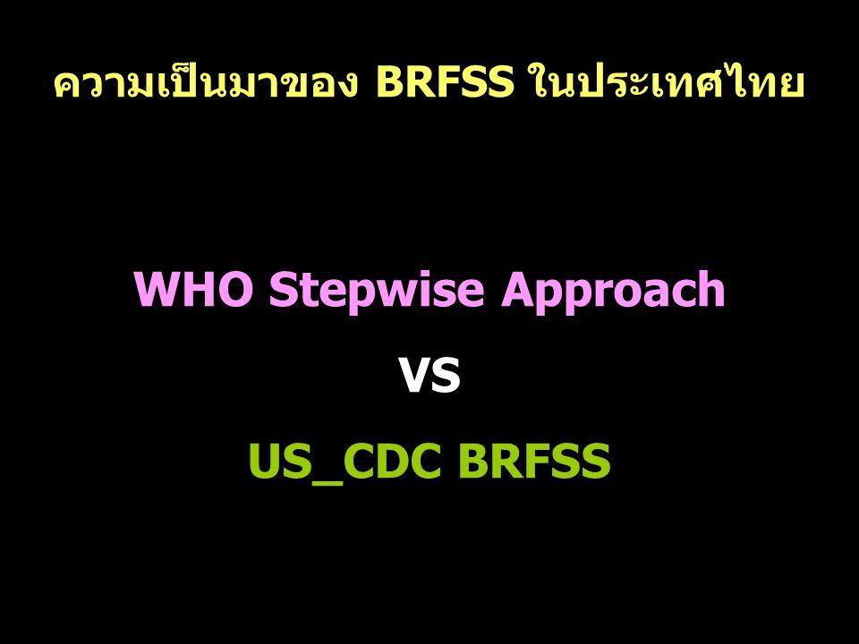 ความเป็นมาของ BRFSS ในประเทศไทย WHO Stepwise Approach VS US_CDC BRFSS