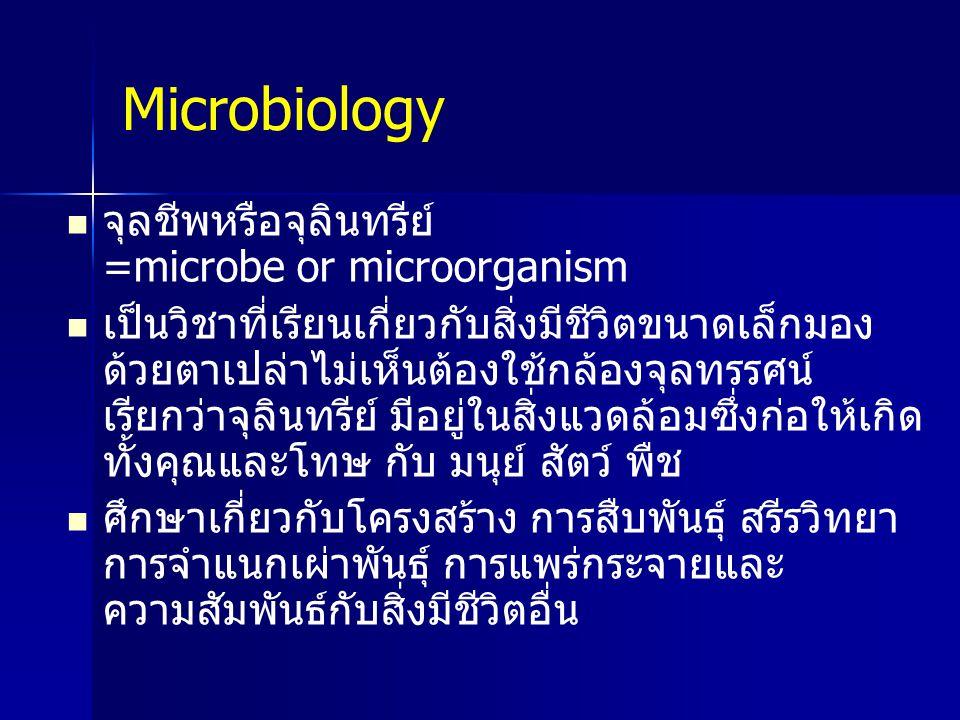 Microbiology จุลชีพหรือจุลินทรีย์ =microbe or microorganism เป็นวิชาที่เรียนเกี่ยวกับสิ่งมีชีวิตขนาดเล็กมอง ด้วยตาเปล่าไม่เห็นต้องใช้กล้องจุลทรรศน์ เร
