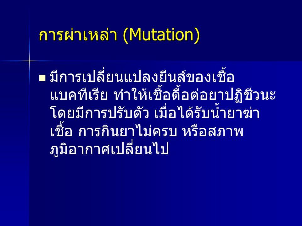 การผ่าเหล่า (Mutation) มีการเปลี่ยนแปลงยีนส์ของเชื้อ แบคทีเรีย ทำให้เชื้อดื้อต่อยาปฏิชีวนะ โดยมีการปรับตัว เมื่อได้รับน้ำยาฆ่า เชื้อ การกินยาไม่ครบ หร