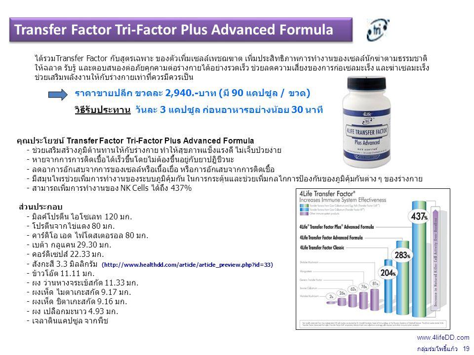 คุณประโยชน์ Transfer Factor Tri-Factor Plus Advanced Formula - ช่วยเสริมสร้างภูมิต้านทานให้กับร่างกาย ทำให้สุขภาพแข็งแรงดี ไม่เจ็บป่วยง่าย - หายจากการการติดเชื้อได้เร็วขึ้นโดยไม่ต้องขึ้นอยู่กับยาปฎิชีวนะ - ลดอาการอักเสบจากการของเซลล์หรือเนื้อเยื่อ หรือการอักเสบจากการติดเชื้อ - มีสมุนไพรช่วยเพิ่มการทำงานของระบบภูมิคุ้มกัน ในการกระตุ้นและช่วยเพิ่มกลไกการป้องกันของภูมิคุ้มกันต่าง ๆ ของร่างกาย - สามารถเพิ่มการทำงานของ NK Cells ได้ถึง 437% ส่วนประกอบ - มิลค์โปรตีน ไอโซเลท 120 มก.