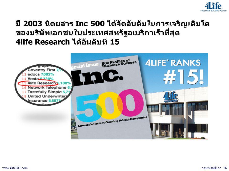 ปี 2003 นิตยสาร Inc 500 ได้จัดอันดับในการเจริญเติบโต ของบริษัทเอกชนในประเทศสหรัฐอเมริกาเร็วที่สุด 4life Research ได้อันดับที่ 15 กลุ่มร่มโพธิ์แก้ว 36 www.4lifeDD.com
