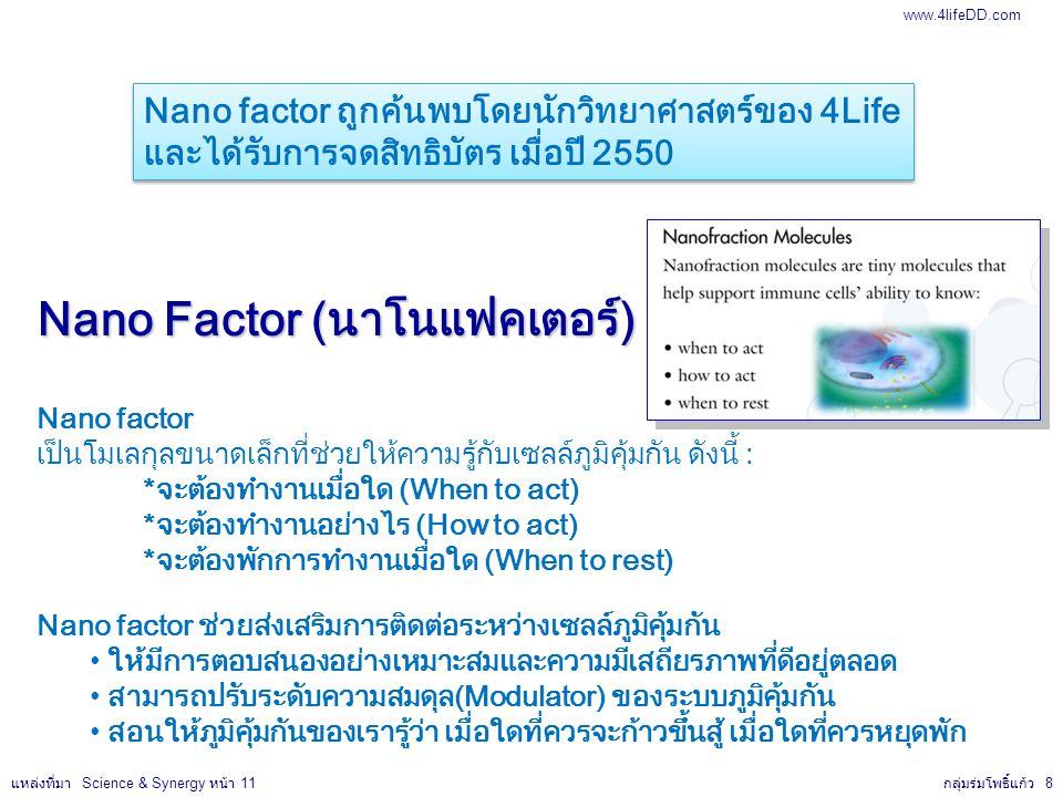 Nano Factor (นาโนแฟคเตอร์) Nano factor เป็นโมเลกุลขนาดเล็กที่ช่วยให้ความรู้กับเซลล์ภูมิคุ้มกัน ดังนี้ : *จะต้องทำงานเมื่อใด (When to act) *จะต้องทำงานอย่างไร (How to act) *จะต้องพักการทำงานเมื่อใด (When to rest) Nano factor ช่วยส่งเสริมการติดต่อระหว่างเซลล์ภูมิคุ้มกัน ให้มีการตอบสนองอย่างเหมาะสมและความมีเสถียรภาพที่ดีอยู่ตลอด สามารถปรับระดับความสมดุล(Modulator) ของระบบภูมิคุ้มกัน สอนให้ภูมิคุ้มกันของเรารู้ว่า เมื่อใดที่ควรจะก้าวขึ้นสู้ เมื่อใดที่ควรหยุดพัก Nano factor ถูกค้นพบโดยนักวิทยาศาสตร์ของ 4Life และได้รับการจดสิทธิบัตร เมื่อปี 2550 Nano factor ถูกค้นพบโดยนักวิทยาศาสตร์ของ 4Life และได้รับการจดสิทธิบัตร เมื่อปี 2550 กลุ่มร่มโพธิ์แก้ว 8 แหล่งที่มา Science & Synergy หน้า 11 www.4lifeDD.com