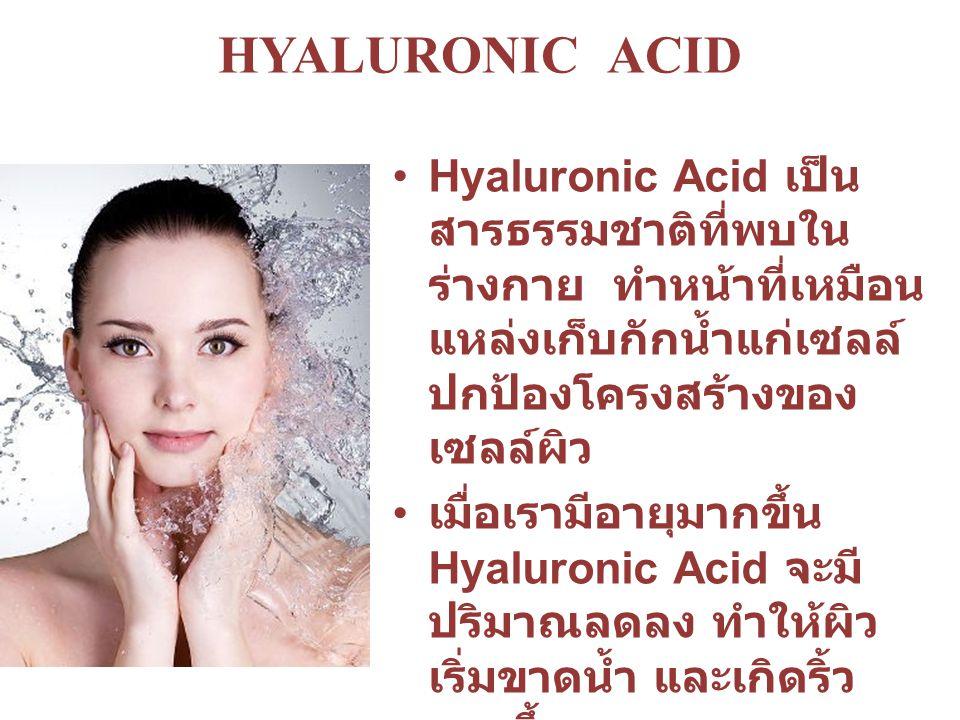 Hyaluronic Acid เป็น สารธรรมชาติที่พบใน ร่างกาย ทำหน้าที่เหมือน แหล่งเก็บกักน้ำแก่เซลล์ ปกป้องโครงสร้างของ เซลล์ผิว เมื่อเรามีอายุมากขึ้น Hyaluronic Acid จะมี ปริมาณลดลง ทำให้ผิว เริ่มขาดน้ำ และเกิดริ้ว รอยขึ้น การใช้ Hyaluronic Acid บนผิว สามารถเสริมสร้าง ให้ผิวมีความชุ่มชื้นมาก ขึ้น และลดริ้วรอยที่อาจ เกิดขึ้นได้ HYALURONIC ACID