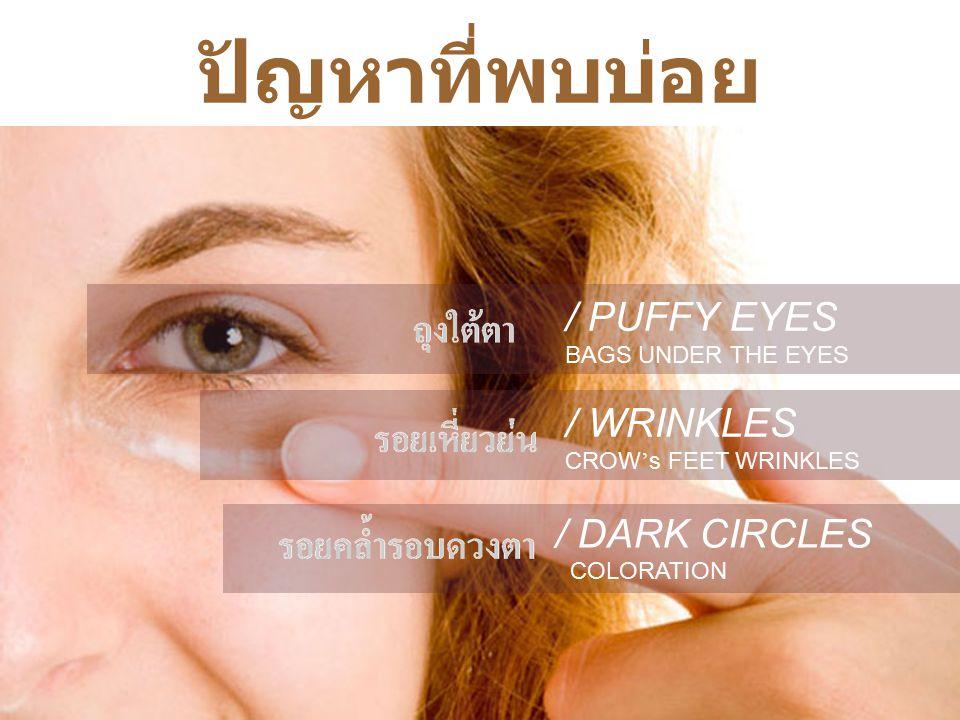 AZADA Caviar Gold Eye Gel รอบดวงตามีเส้นเลือดมาหล่อเลี้ยงจำนวนมาก แต่มีต่อมไขมันอยู่น้อย ---> ผิว รอบดวงตาจึงแห้งมากกว่าบริเวณอื่น ผิวหนังบริเวณรอบดวงตา บอบบาง เพียง 0.33 -0.36 mm ---> จึงสูญเสีย Collagen ได้ ง่าย มีกล้ามเนื้อมากถึง 22 มัด ที่ควบคุมการ แสดงออกของดวงตา ---> โอกาสเกิดริ้วรอยจึง มีมาก