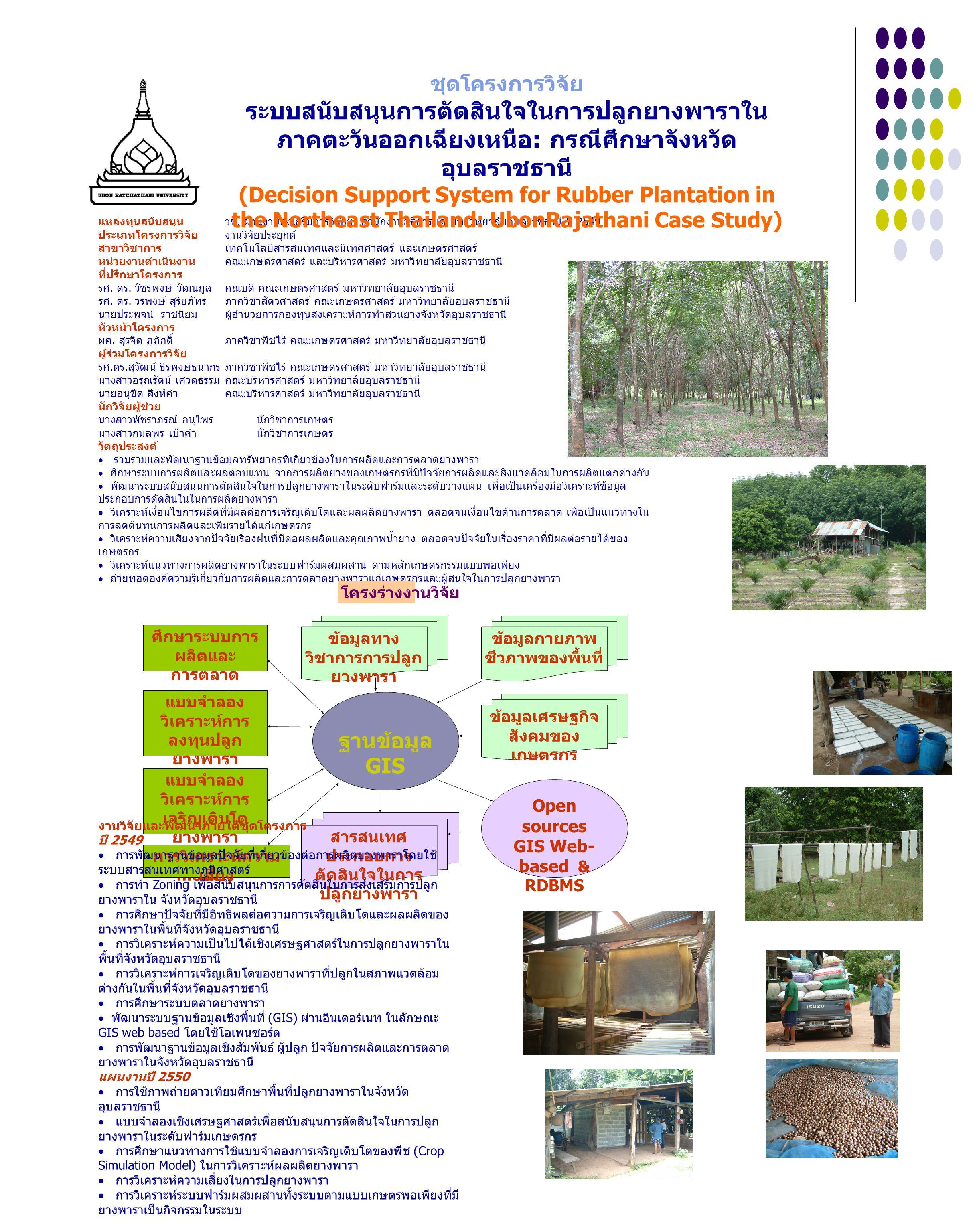 ฐานข้อมูล GIS ศึกษาระบบการ ผลิตและ การตลาด ยางพารา ข้อมูลกายภาพ ชีวภาพของพื้นที่ ข้อมูลทาง วิชาการการปลูก ยางพารา แบบจำลอง วิเคราะห์การ ลงทุนปลูก ยางพารา (Spreadsheet model) แบบจำลอง วิเคราะห์การ เจริญเติบโต ยางพารา (Simulation model) Open sources GIS Web- based & RDBMS ข้อมูลเศรษฐกิจ สังคมของ เกษตรกร สารสนเทศ ประกอบการ ตัดสินใจในการ ปลูกยางพารา การวิเคราะห์ความ เสี่ยง แหล่งทุนสนับสนุน วช.