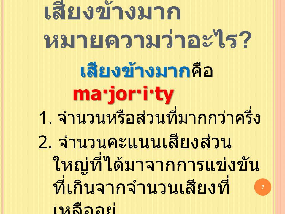เสียงข้างมาก หมายความว่าอะไร ? เสียงข้างมาก ma·jor·i·ty เสียงข้างมากคือ ma·jor·i·ty 1. จำนวนหรือส่วนที่มากกว่าครึ่ง 2. จำนวน คะแนนเสียงส่วน ใหญ่ที่ได้