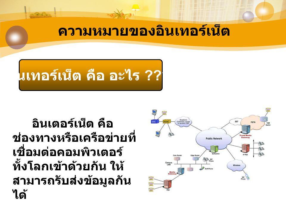 การเชื่อมต่ออินเทอร์เน็ต ในการเชื่อมต่ออินเทอร์เน็ตต้องมี องค์ประกอบ ดังนี้ 1.