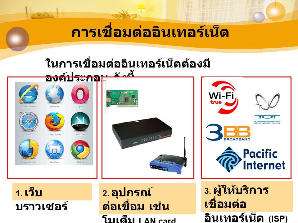 การเชื่อมต่ออินเทอร์เน็ต ในการเชื่อมต่ออินเทอร์เน็ตต้องมี องค์ประกอบ ดังนี้ 1. เว็บ บราวเซอร์ 2. อุปกรณ์ ต่อเชื่อม เช่น โมเด็ม LAN card 3. ผู้ให้บริกา