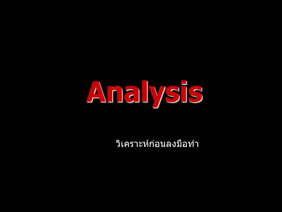 Analysis วิเคราะห์ก่อนลงมือทำ