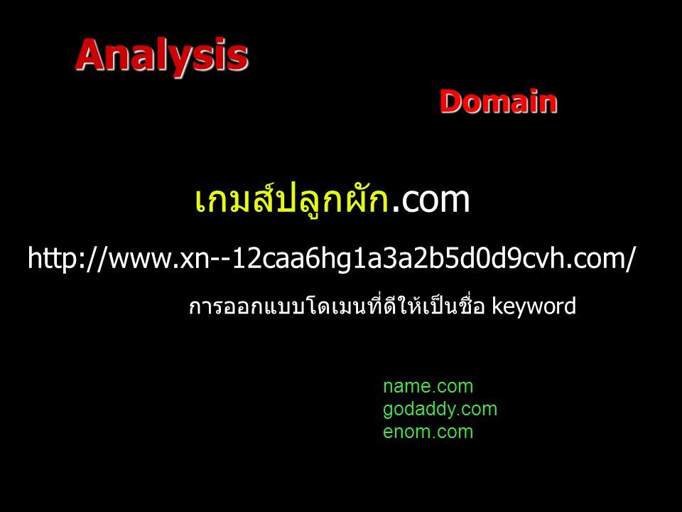Domain เกมส์ปลูกผัก.com http://www.xn--12caa6hg1a3a2b5d0d9cvh.com/ Analysis name.com godaddy.com enom.com การออกแบบโดเมนที่ดีให้เป็นชื่อ keyword