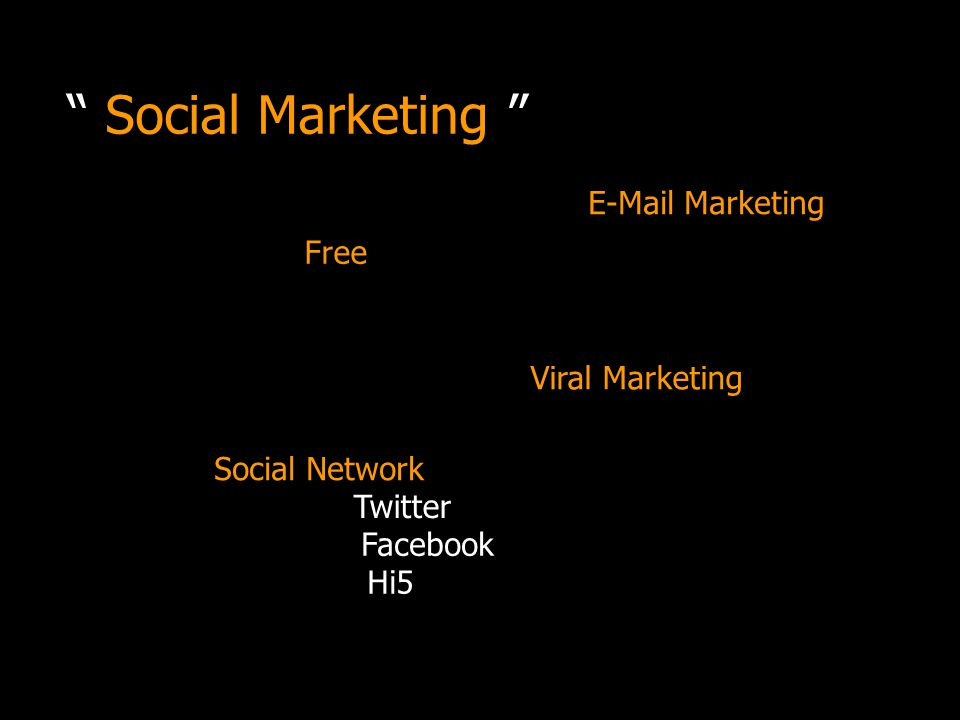 Social Marketing Free E-Mail Marketing Social Network Viral Marketing Twitter Facebook Hi5