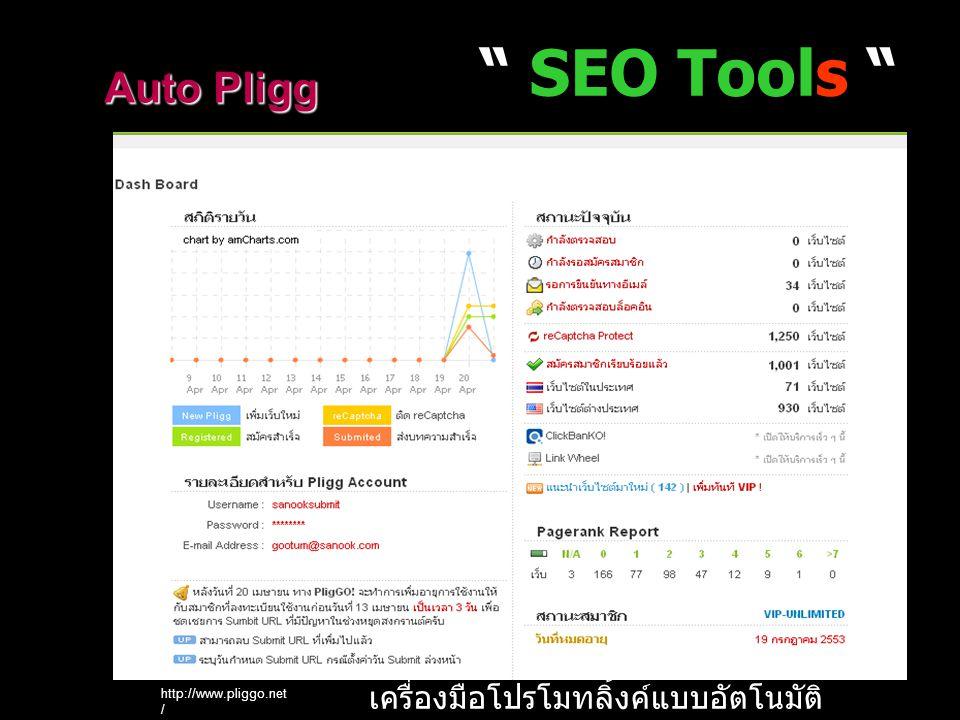 SEO Tools http://www.pliggo.net / Auto Pligg เครื่องมือโปรโมทลิ้งค์แบบอัตโนมัติ
