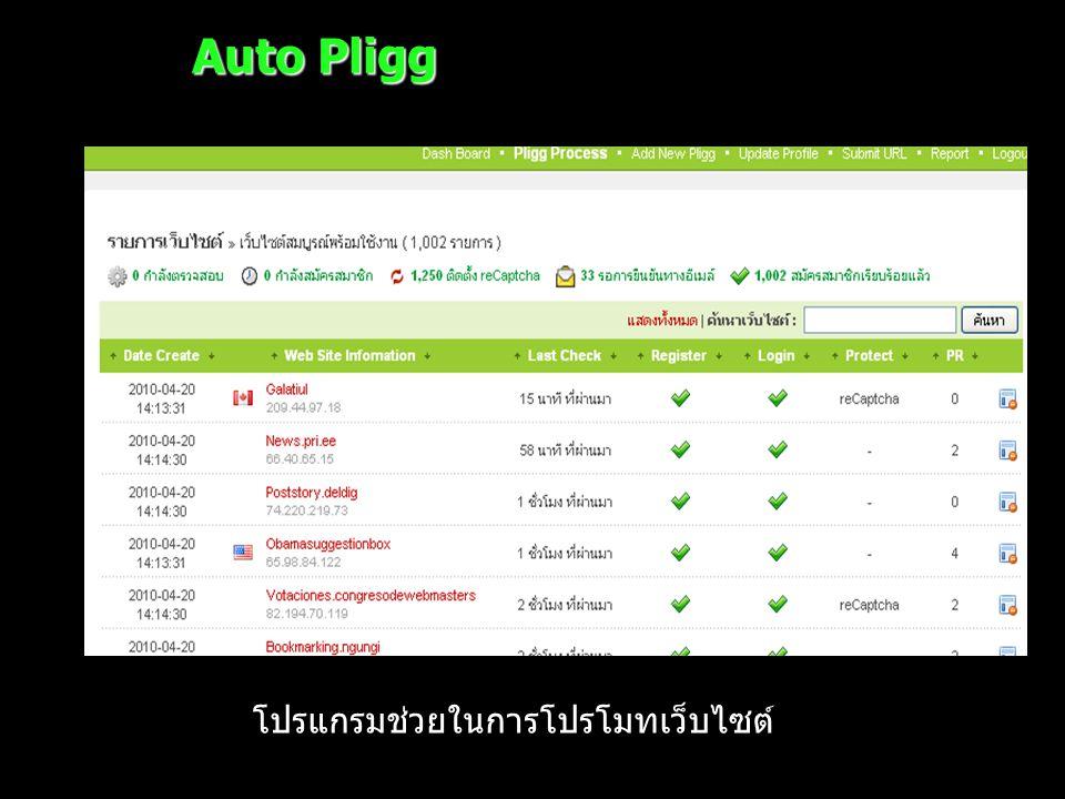 Auto Pligg โปรแกรมช่วยในการโปรโมทเว็บไซต์