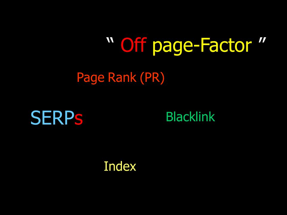 Off page-Factor Page Rank (PR)‏ SERPs Blacklink Index