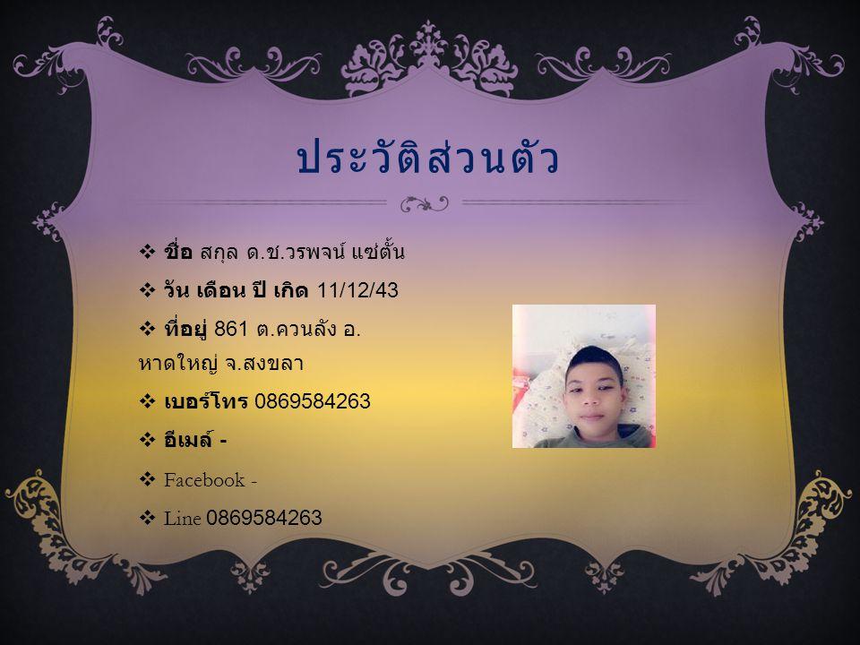  ชื่อ สกุล ด. ช. วรพจน์ แซ่ตั้น  วัน เดือน ปี เกิด 11/12/43  ที่อยู่ 861 ต. ควนลัง อ. หาดใหญ่ จ. สงขลา  เบอร์โทร 0869584263  อีเมล์ -  Facebook
