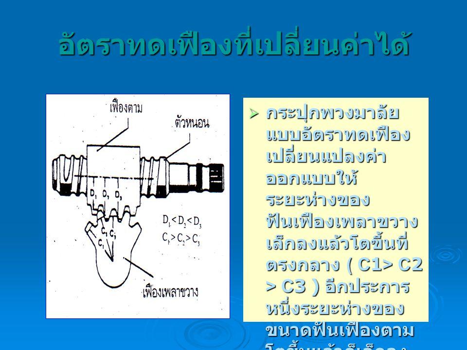 อัตราทดเฟืองที่เปลี่ยนค่าได้  กระปุกพวงมาลัย แบบอัตราทดเฟือง เปลี่ยนแปลงค่า ออกแบบให้ ระยะห่างของ ฟันเฟืองเพลาขวาง เล็กลงแล้วโตขึ้นที่ ตรงกลาง ( C1>
