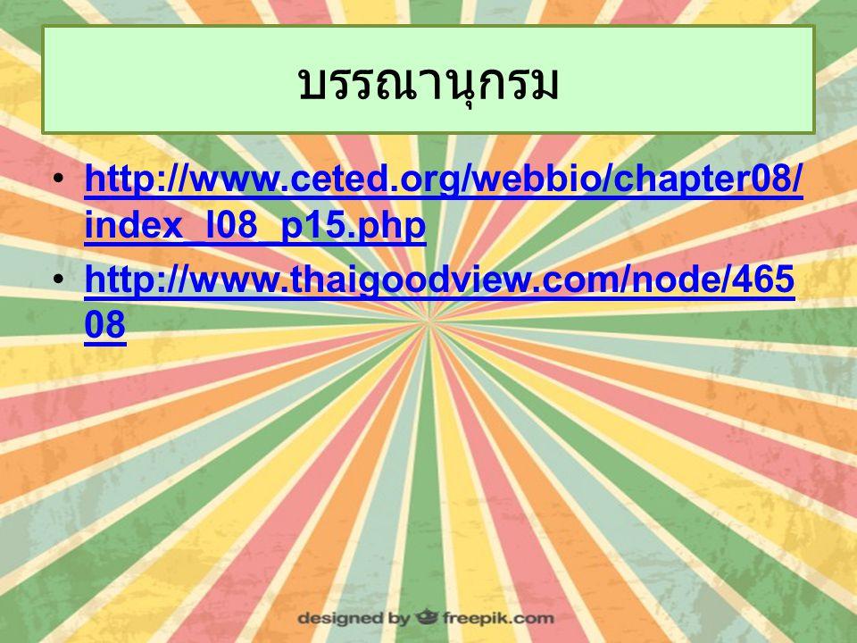 บรรณานุกรม http://www.ceted.org/webbio/chapter08/ index_l08_p15.phphttp://www.ceted.org/webbio/chapter08/ index_l08_p15.php http://www.thaigoodview.com/node/465 08http://www.thaigoodview.com/node/465 08