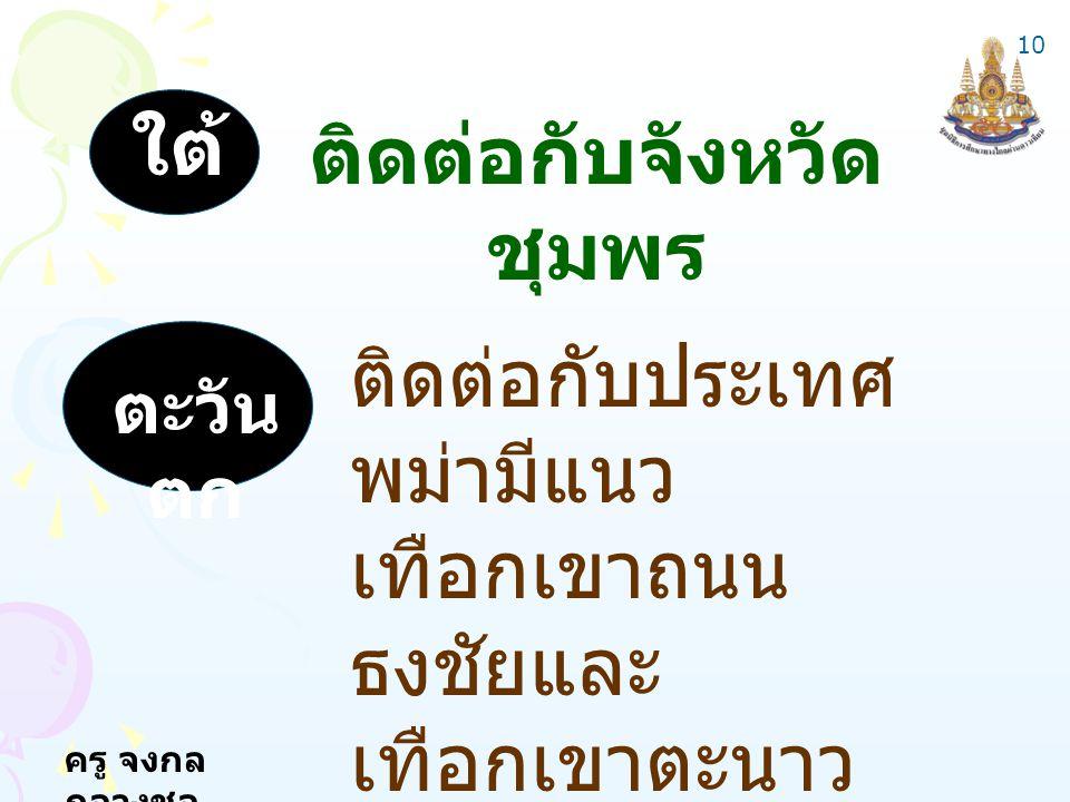 ครู จงกล กลางชล ใต้ ติดต่อกับจังหวัด ชุมพร ตะวัน ตก ติดต่อกับประเทศ พม่ามีแนว เทือกเขาถนน ธงชัยและ เทือกเขาตะนาว ศรีเป็นพรมแดน 10