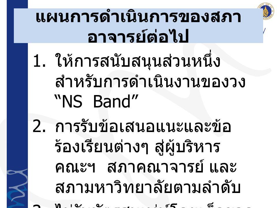 """แผนการดำเนินการของสภา อาจารย์ต่อไป 1. ให้การสนับสนุนส่วนหนึ่ง สำหรับการดำเนินงานของวง """"NS Band"""" 2. การรับข้อเสนอแนะและข้อ ร้องเรียนต่างๆ สู่ผู้บริหาร"""