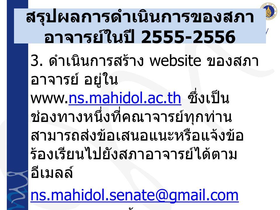 3. ดำเนินการสร้าง website ของสภา อาจารย์ อยู่ใน www.ns.mahidol.ac.th ซึ่งเป็น ช่องทางหนึ่งที่คณาจารย์ทุกท่าน สามารถส่งข้อเสนอแนะหรือแจ้งข้อ ร้องเรียนไ