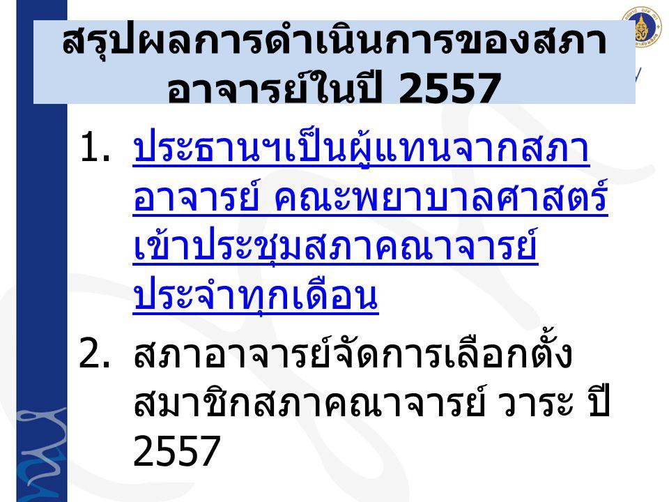 สรุปผลการดำเนินการของสภา อาจารย์ในปี 2557 1.