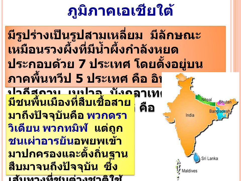 ภูมิภาคเอเชียใต้ มีรูปร่างเป็นรูปสามเหลี่ยม มีลักษณะ เหมือนรวงผึ้งที่มีน้ำผึ้งกำลังหยด ประกอบด้วย 7 ประเทศ โดยตั้งอยู่บน ภาคพื้นทวีป 5 ประเทศ คือ อินเ