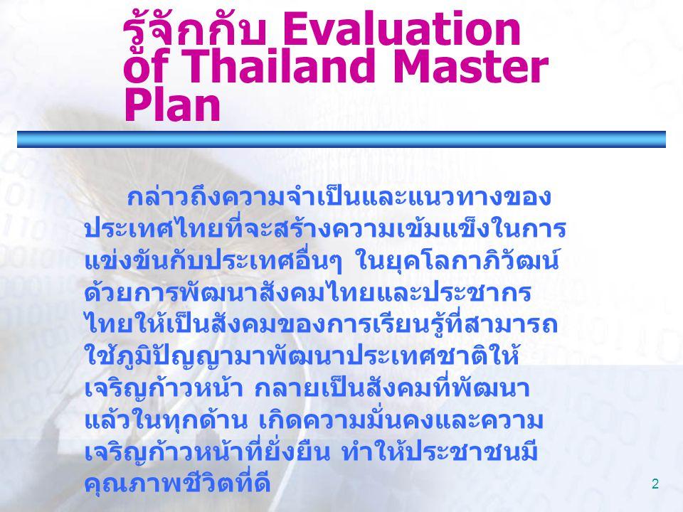 2 รู้จักกับ Evaluation of Thailand Master Plan กล่าวถึงความจำเป็นและแนวทางของ ประเทศไทยที่จะสร้างความเข้มแข็งในการ แข่งขันกับประเทศอื่นๆ ในยุคโลกาภิวั