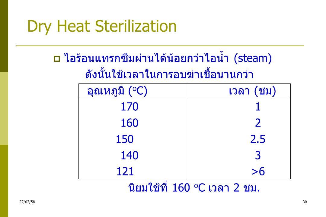 การใช้ความร้อนแห้ง (Dry heat)  การใช้ตู้อบความร้อน (Hot air oven) ใช้กับของที่แห้ง หรือเปียกน้ำไม่ได้ : เครื่องแก้ว ขี้ผึ้ง น้ำมันหรือผงแป้ง  วิธีการ อุณหภูมิ 160-170 °c นาน 1-2 ชม.