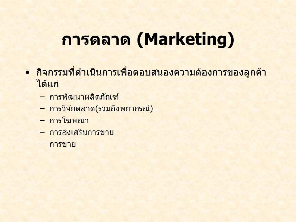 การตลาด (Marketing) กิจกรรมที่ดำเนินการเพื่อตอบสนองความต้องการของลูกค้า ได้แก่ –การพัฒนาผลิตภัณฑ์ –การวิจัยตลาด(รวมถึงพยากรณ์) –การโฆษณา –การส่งเสริมก