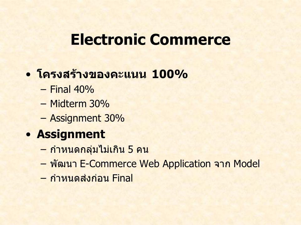 Electronic Commerce โครงสร้างของคะแนน 100% –Final 40% –Midterm 30% –Assignment 30% Assignment –กำหนดกลุ่มไม่เกิน 5 คน –พัฒนา E-Commerce Web Applicatio