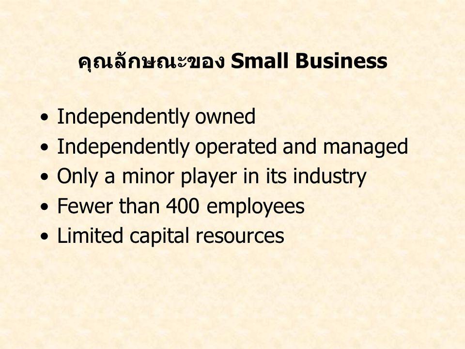 คุณลักษณะของ Small Business Independently owned Independently operated and managed Only a minor player in its industry Fewer than 400 employees Limite