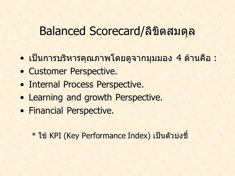 Balanced Scorecard/ลิขิตสมดุล เป็นการบริหารคุณภาพโดยดูจากมุมมอง 4 ด้านคือ : Customer Perspective. Internal Process Perspective. Learning and growth Pe
