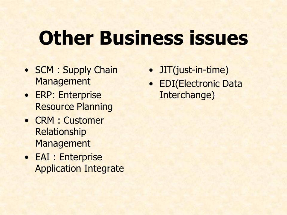 Other Business issues SCM : Supply Chain Management ERP: Enterprise Resource Planning CRM : Customer Relationship Management EAI : Enterprise Applicat