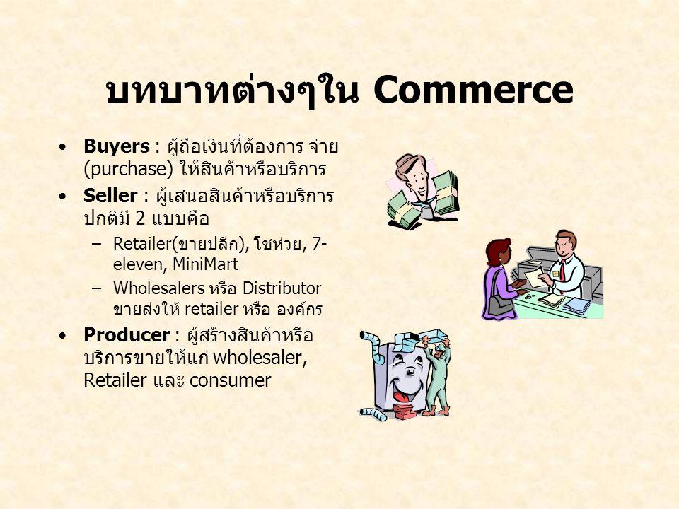 บทบาทต่างๆใน Commerce Buyers : ผู้ถือเงินที่ต้องการ จ่าย (purchase) ให้สินค้าหรือบริการ Seller : ผู้เสนอสินค้าหรือบริการ ปกติมี 2 แบบคือ –Retailer(ขาย