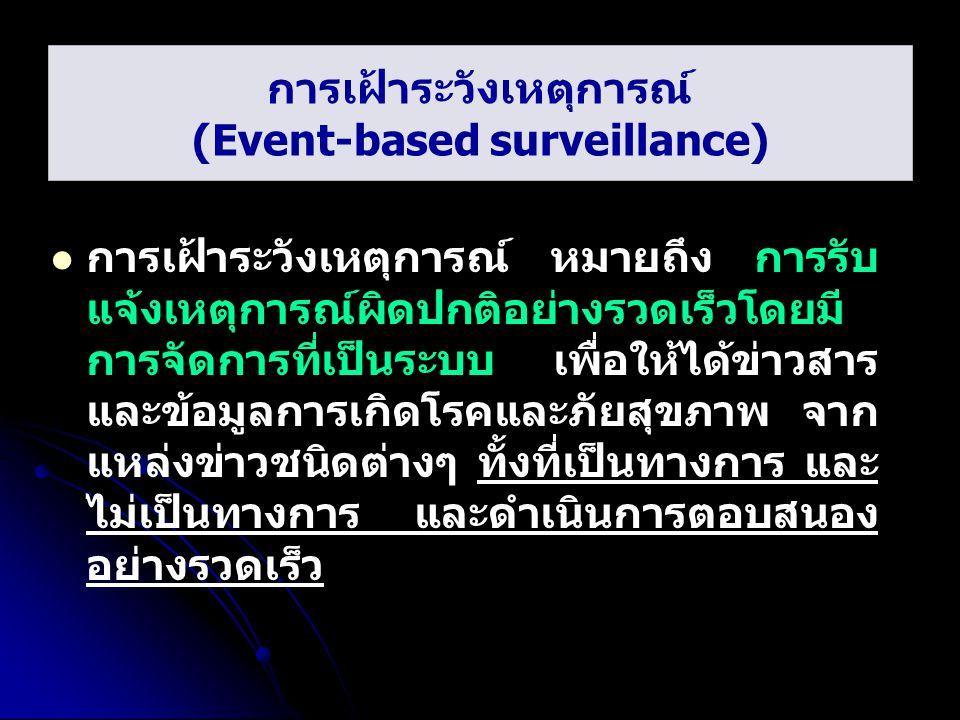 การเฝ้าระวังเหตุการณ์ (Event-based surveillance) การเฝ้าระวังเหตุการณ์ หมายถึง การรับ แจ้งเหตุการณ์ผิดปกติอย่างรวดเร็วโดยมี การจัดการที่เป็นระบบ เพื่อ
