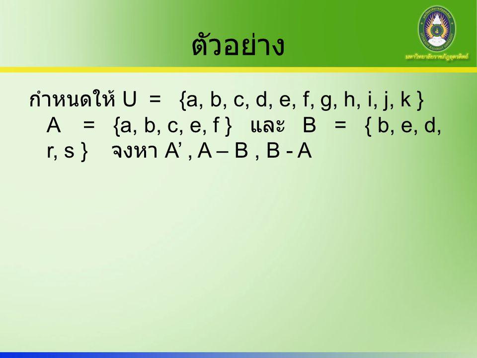 ตัวอย่าง กำหนดให้ U = {a, b, c, d, e, f, g, h, i, j, k } A = {a, b, c, e, f } และ B = { b, e, d, r, s } จงหา A', A – B, B - A