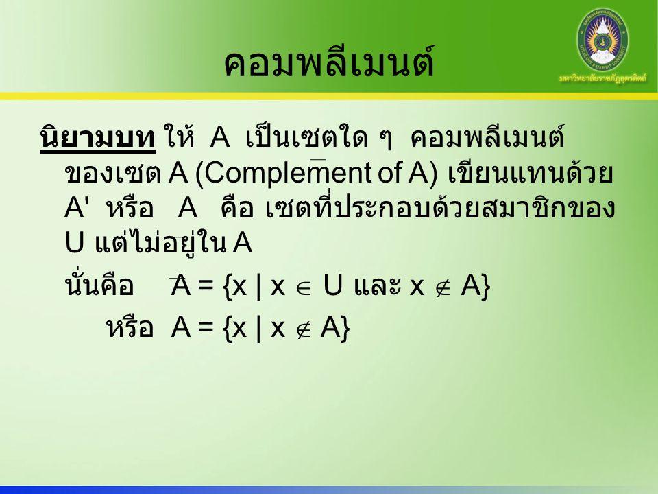 คอมพลีเมนต์ นิยามบท ให้ A เป็นเซตใด ๆ คอมพลีเมนต์ ของเซต A (Complement of A) เขียนแทนด้วย A' หรือ A คือ เซตที่ประกอบด้วยสมาชิกของ U แต่ไม่อยู่ใน A นั่