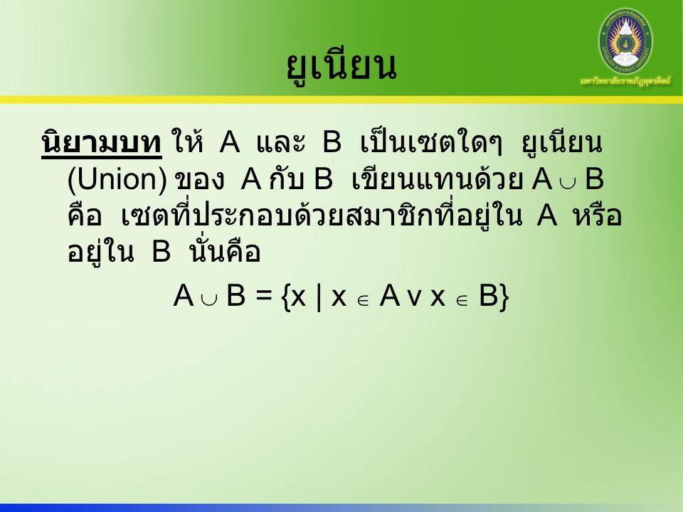 ยูเนียน นิยามบท ให้ A และ B เป็นเซตใดๆ ยูเนียน (Union) ของ A กับ B เขียนแทนด้วย A  B คือ เซตที่ประกอบด้วยสมาชิกที่อยู่ใน A หรือ อยู่ใน B นั่นคือ A 