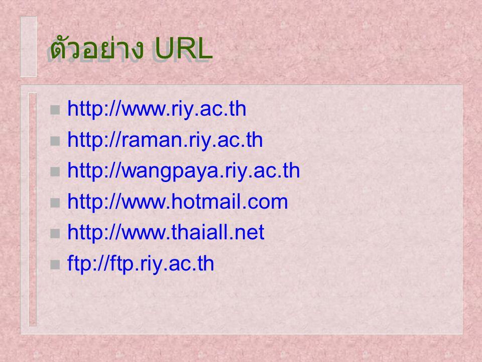 ตัวอย่าง URL n http://www.riy.ac.th n http://raman.riy.ac.th n http://wangpaya.riy.ac.th n http://www.hotmail.com n http://www.thaiall.net n ftp://ftp