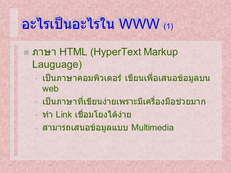 อะไรเป็นอะไรใน WWW (1) n ภาษา HTML (HyperText Markup Lauguage) เป็นภาษาคอมพิวเตอร์ เขียนเพื่อเสนอข้อมูลบน web เป็นภาษาที่เขียนง่ายเพราะมีเครื่องมือช่ว