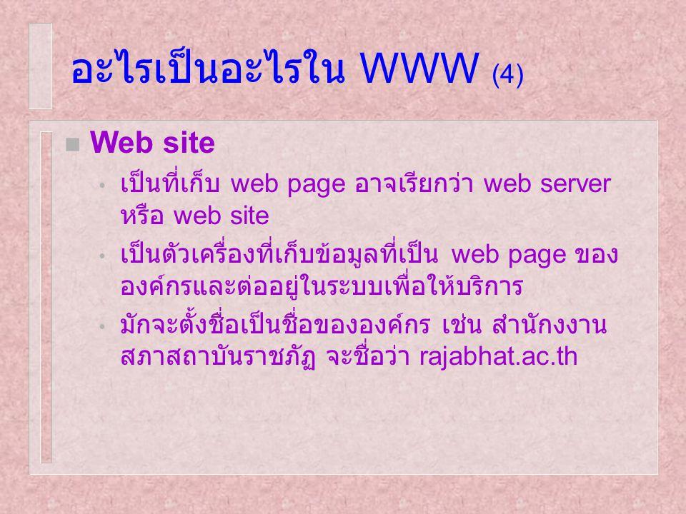 อะไรเป็นอะไรใน WWW (4) n Web site เป็นที่เก็บ web page อาจเรียกว่า web server หรือ web site เป็นตัวเครื่องที่เก็บข้อมูลที่เป็น web page ของ องค์กรและต