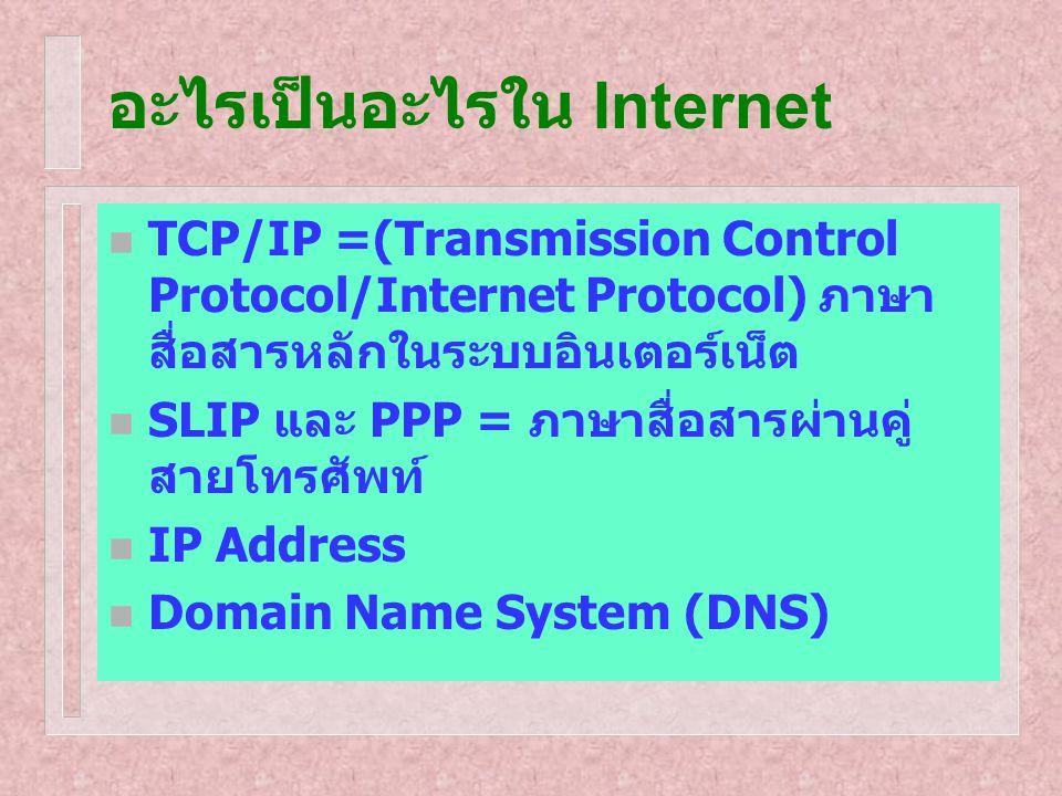 อะไรเป็นอะไรใน Internet TCP/IP =(Transmission Control Protocol/Internet Protocol) ภาษา สื่อสารหลักในระบบอินเตอร์เน็ต SLIP และ PPP = ภาษาสื่อสารผ่านคู่