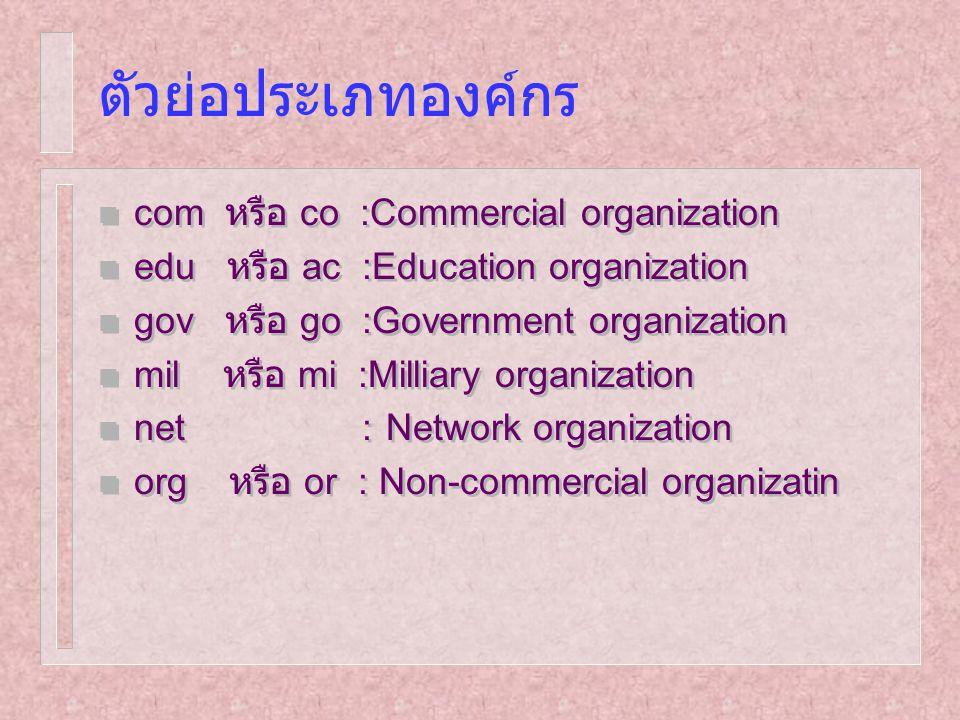 ตัวย่อประเภทองค์กร n com หรือ co :Commercial organization n edu หรือ ac :Education organization n gov หรือ go :Government organization n mil หรือ mi :