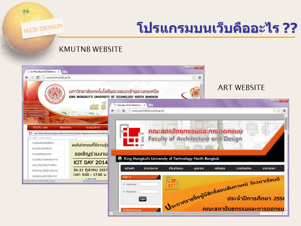 Web Browser : Internet Explorer Netscape / Firefox Opera Database HTTP SQL HTTP Web Server : Apache IIS Language : ASP PHP JSP Database : MySQL PostgreSQL Microsoft SQL Server โปรแกรมบนเว็บทำงานอย่างไร SERVER – แม่ข่าย Client – ผู้ขอใช้บริการ