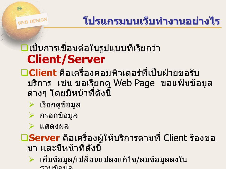 โปรแกรมบนเว็บทำงานอย่างไร  เป็นการเชื่อมต่อในรูปแบบที่เรียกว่า Client/Server  Client คือเครื่องคอมพิวเตอร์ที่เป็นฝ่ายขอรับ บริการ เช่น ขอเรียกดู Web Page ขอแฟ้มข้อมูล ต่างๆ โดยมีหน้าที่ดังนี้  เรียกดูข้อมูล  กรอกข้อมูล  แสดงผล  Server คือเครื่องผู้ให้บริการตามที่ Client ร้องขอ มา และมีหน้าที่ดังนี้  เก็บข้อมูล / เปลี่ยนแปลงแก้ไข / ลบข้อมูลลงใน ฐานข้อมูล  ประมวลผลและส่งผลกลับไปหาผู้ขอรับบริการ